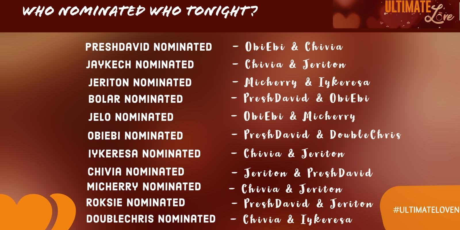 Ultimate Love week 2 nominations