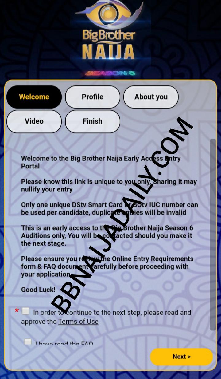 BBNAija Audition Form 2021