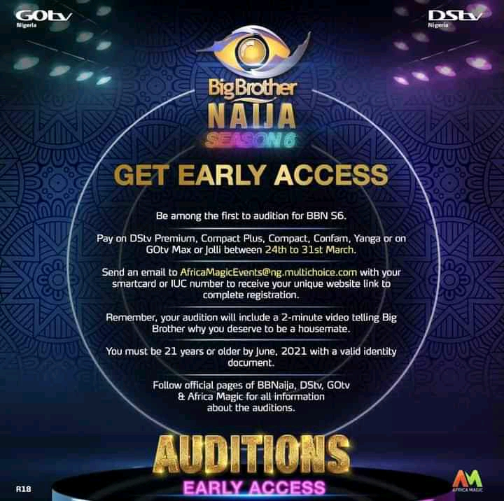BBNaija season 6 audition 2021