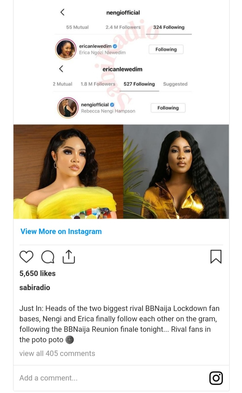 Erica and Nengi Instagram